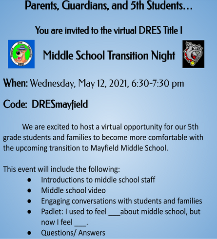 DRES Middle School Transition Night English