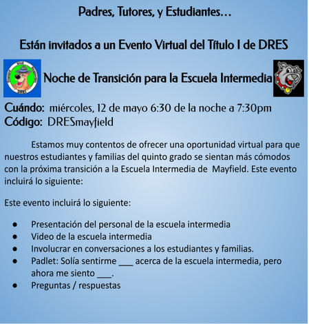 DRES Middle School Transition Night